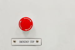 Interruptor del botón de paro de emergencia Fotos de archivo libres de regalías