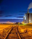 Interruptor del ferrocarril en área industrial Foto de archivo libre de regalías