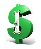 Interruptor del símbolo del dólar (verde - apagado) Imágenes de archivo libres de regalías