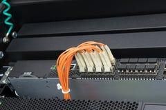Interruptor e cabo de fibra ótica de rede Foto de Stock Royalty Free