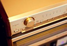 Interruptor estéreo del botón del selector de la fuente del amplificador audio del vintage Imágenes de archivo libres de regalías