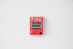 Interruptor la alarma de incendio en fábrica Imagenes de archivo
