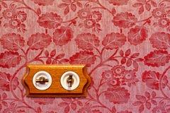 Interruptor ligero de madera antiguo Fotografía de archivo libre de regalías
