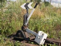 Interruptor manual para cambiar el movimiento de trenes Fotos de archivo