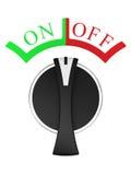 Interruptor on-off vertical giratório isolado no branco Fotos de Stock Royalty Free
