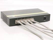 interruptor portuario del gigabit de Ethernet 5 con los cables Foto de archivo libre de regalías