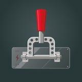 Interruptor realista del metal Vaso rojo aislado Fotografía de archivo