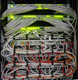 Interruptor y cables - red Fotografía de archivo libre de regalías