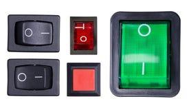 Interruptores aislados en blanco Foto de archivo