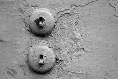 Interruptores blancos y negros de la foto Fotografía de archivo