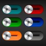 Interruptores coloridos para texturizar el fondo con puntos culminantes y sombras Foto de archivo