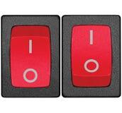 Interruptores de alimentação no posição de repouso, vermelho, grande close up macro isolado detalhado Imagens de Stock
