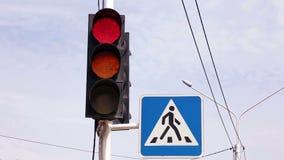 Interruptores de la luz del tráfico de rojo para poner verde v2 almacen de video