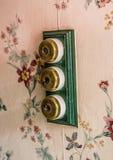 Interruptores de la luz del vintage en un hotel Fotografía de archivo