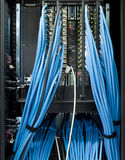 Interruptores del establecimiento de una red en un datacenter Fotografía de archivo