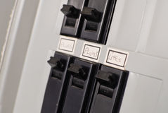 Interruptores eléctricos del rectángulo de los cortacircuítos Imágenes de archivo libres de regalías