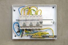 Interruptores em uma caixa plástica Fotografia de Stock Royalty Free
