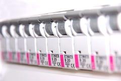 Interruptores en fusebox Foto de archivo libre de regalías