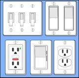 Interruptores ligeros y enchufes. foto de archivo libre de regalías