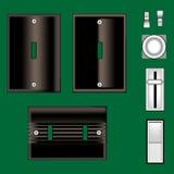 Interruptores ligeros y placa frontal en negro del vector Imagen de archivo libre de regalías
