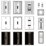 Interruptores ligeros y placas frontales Foto de archivo