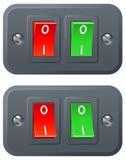 Interruptores rojos y verdes Foto de archivo libre de regalías