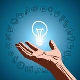 Interruttore della lampadina dell'icona e di idea di percorso Fotografia Stock Libera da Diritti