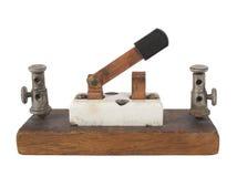 Interruttore di coltello elettrico dell'annata isolato. Fotografia Stock