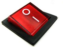 Interruttore di potenza rosso immagini stock