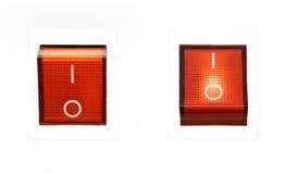 Interruttore di potenza rosso - INSERITA/DISINSERITA Fotografie Stock