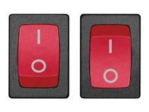 Interruttore di potenza rosso sulla posizione di riposo, macro isolata fotografia stock libera da diritti
