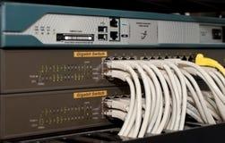 Interruttore di rete con i cavi immagini stock libere da diritti