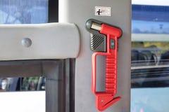 interruttore di vetro del martello sul bus fotografia stock