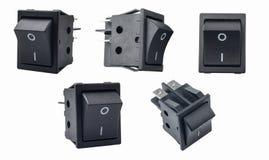 Interruttore a leva o micro commutatore inserita/disinserita su fondo bianco utilizzato nei protettori di impulso, schermi video, fotografia stock