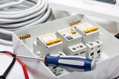 Interruttori automatici Materiale elettrico fotografia stock