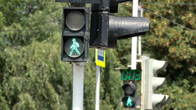 Interruttori della luce di traffico pedonale da verde a v2 rosso stock footage