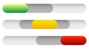 Interruttori di accensione orizzontali, bottoni di potere 3 cursori dello stato Su, o Immagini Stock