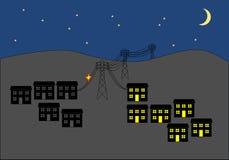 Interruzione dell'elettricità in città a clipart di notte Fotografia Stock