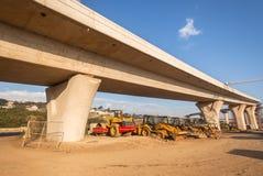 Interseção da junção da estrada da construção fotografia de stock