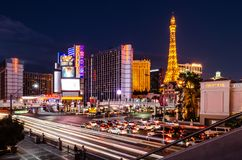Interseção da tira de Las Vegas & da estrada do leste do flamingo fotografia de stock