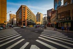 Interseção de Walker Street e da 6a avenida em SoHo, Manhattan, Imagens de Stock