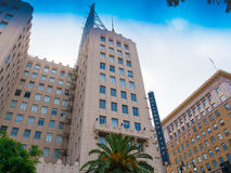Interseção histórica famosa do bulevar & da videira de Hollywood, Califórnia Fotografia de Stock