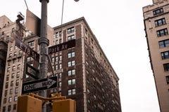 Interseção na avenida do parque e 78th rua em NYC Fotos de Stock Royalty Free