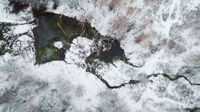 Aerial view autumn forest. Interseasonal landscape, aerial view autumn forest after first snow and small forest lake stock footage