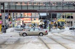 Intersección céntrica en invierno Imagenes de archivo