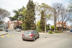 Intersección central en el cuarto Sarafovo, Bulgaria de Burgas foto de archivo libre de regalías
