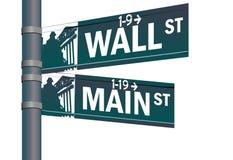 Intersección de la calle principal de Wall Street Fotos de archivo