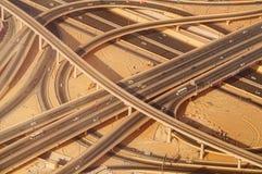 Intersección del camino de la carretera en Burj céntrico Dubai Fotografía de archivo