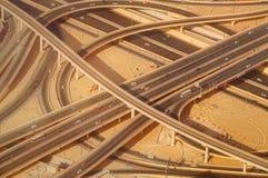 Intersección del camino de la carretera en Burj céntrico Dubai Imagen de archivo libre de regalías