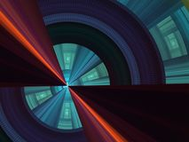 Intersect. Geometric, techno perspective (computer generated, fractal abstract background Royalty Free Stock Images